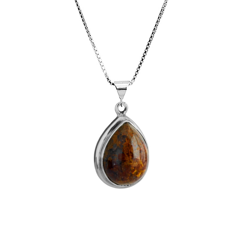 Beautiful Pietersite Teardrop Sterling Silver Necklace