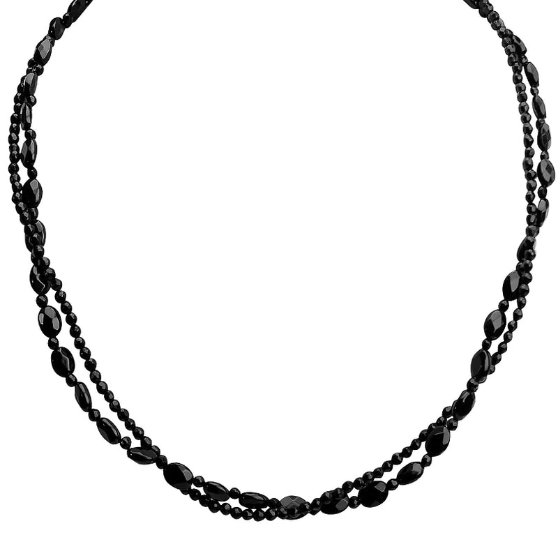 Faceted Black Onyx Sterling Silver Necklace