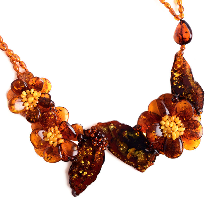 "Gorgeous Cognac Stones and Flowers Baltic Amber Flower Necklace 20""-one of a kind"