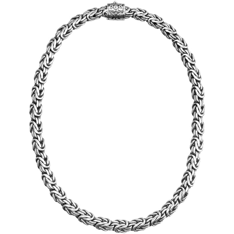 Sterling Silver 10mm Borobadur Chain with Filigree Barrel Clasp