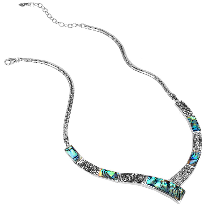 Vibrant Abalone and Marcasite Sterling Silver Statement Necklace