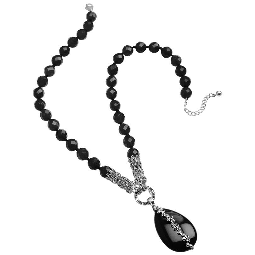 Elegant, Vintage Inspired Black Onyx And Marcasite Sterling Silver Necklace