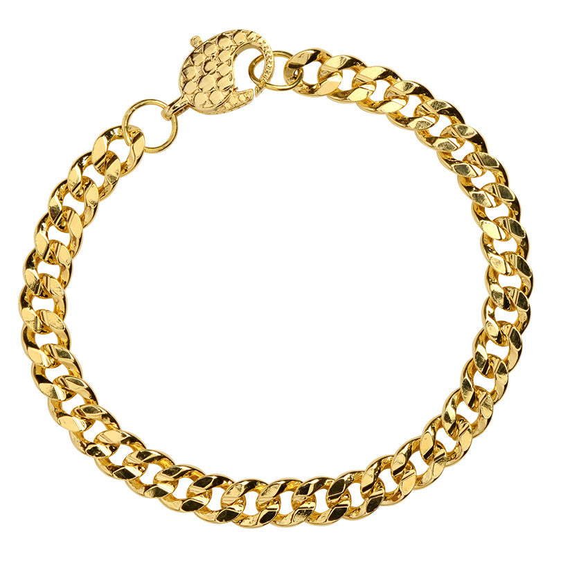 Classic Gold Plated Curb Link Chain Anklet with Fancy Dotted Clasp 10mm