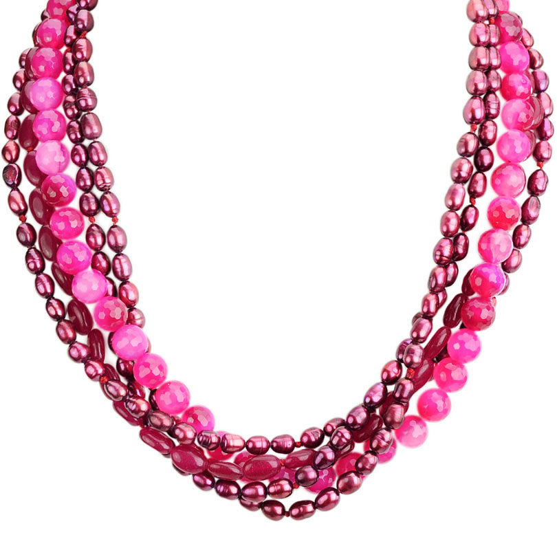 5-Strand Pink Fresh Water Pearl and Jade Necklace