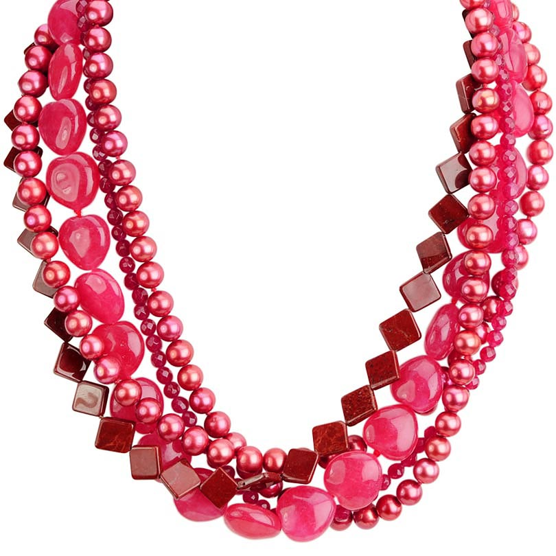A 5-Strand Crescendo of Pink Jade, Pearls, Agate with Jasper Squares Necklace