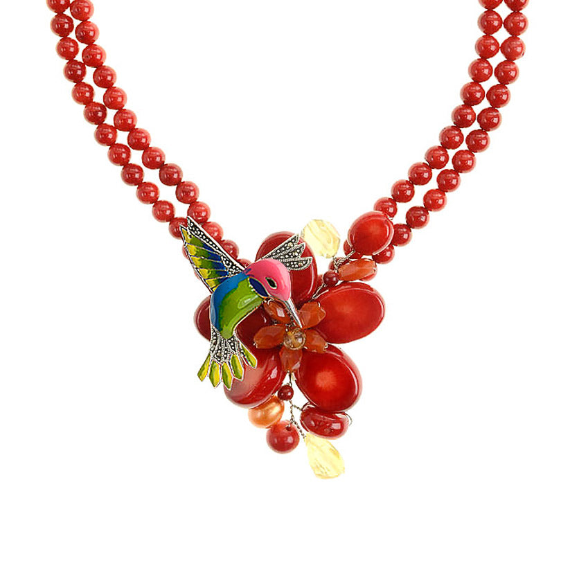 Super Cute Coral Sterling Silver Hummingbird Necklace