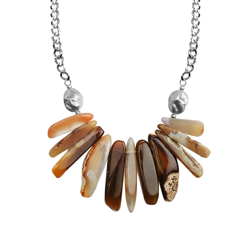 Beautiful Earth-Tone Nature's Patterns of Agate on Silver Plated Necklace