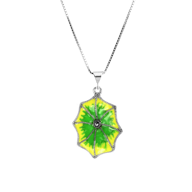 Marcasite and Enamel Sterling Silver Lily Pad Necklace
