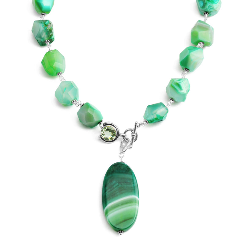 Vibrant Green Agate With Green Amethyst Clasp Sterling Silver Statement Necklace