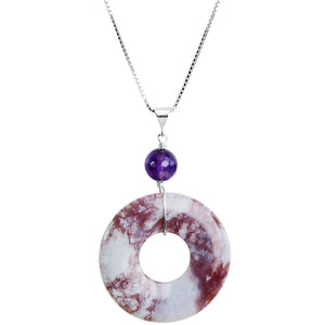 Amethyst and Purple Violet Sea Sediment Jasper Sterling Silver Necklace
