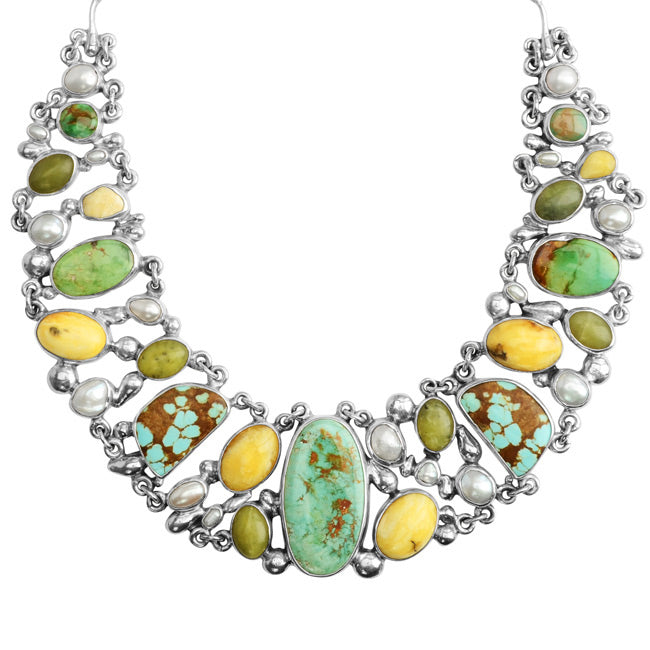 Polish Designer Pomianowski's Genuine Turquoise and Baltic Butterscotch Amber Sterling Silver Statement Necklace