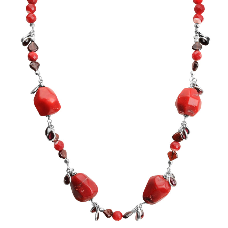 Stunning Coral Nuggets with Garnet Dangling Stones Sterling Silver Necklace