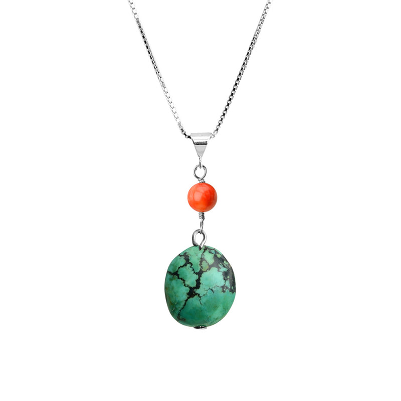 Gorgeous Genuine Turquoise and Coral Sterling Silver Necklace