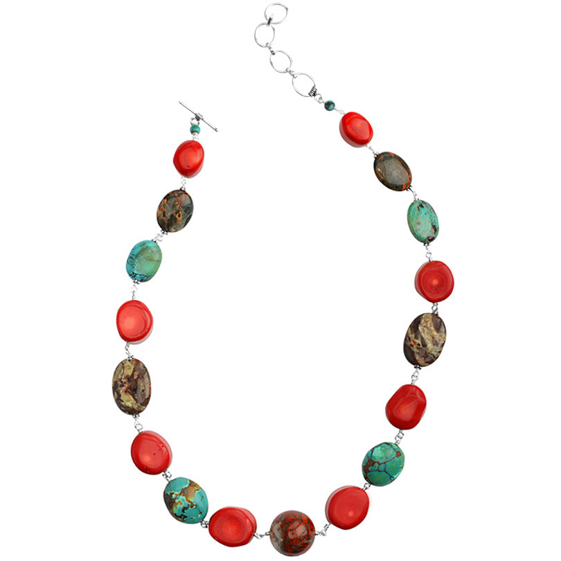 Vibrant Stones of Jasper, Turquoise, Coral & Smoky Sterling Silver Statement Necklace