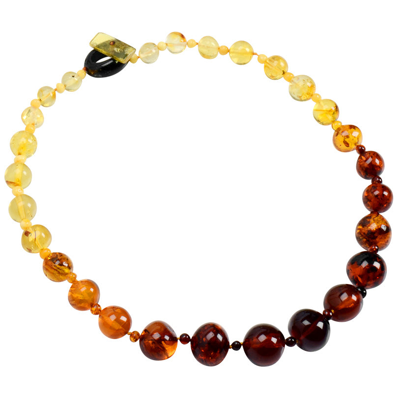 Polish Designer Baltic Amber Tri-Color Glistening Amber Balls Statement Necklace 21""