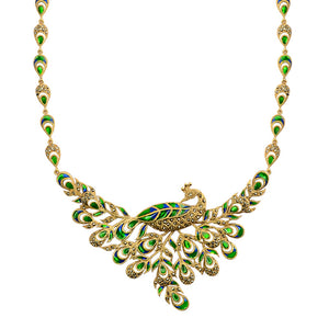 14kt Gold Plated Marcasite Graceful Peacock Necklace