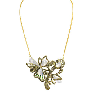 Dreamy Gold Plated Marcasite Flower Necklace