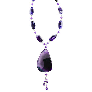 Large Gorgeous Agate Slice & Amethyst Sterling Silver Toggle Statement Necklace