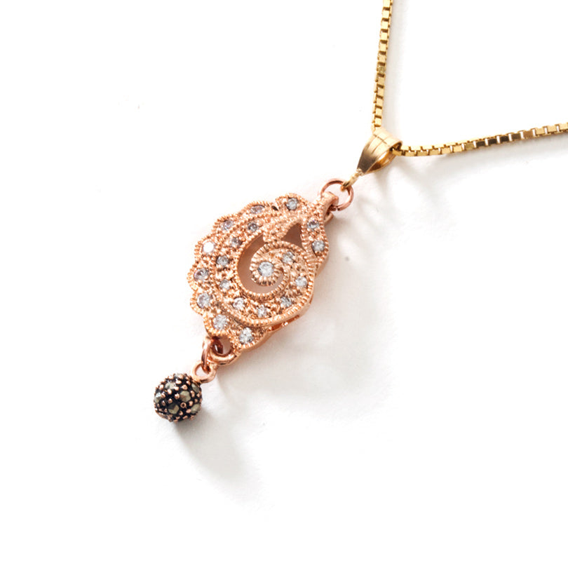 Dazzling Rose Gold Plated CZ Pendant on 18Kt Italian Gold Plated Sterling Silver Chain.