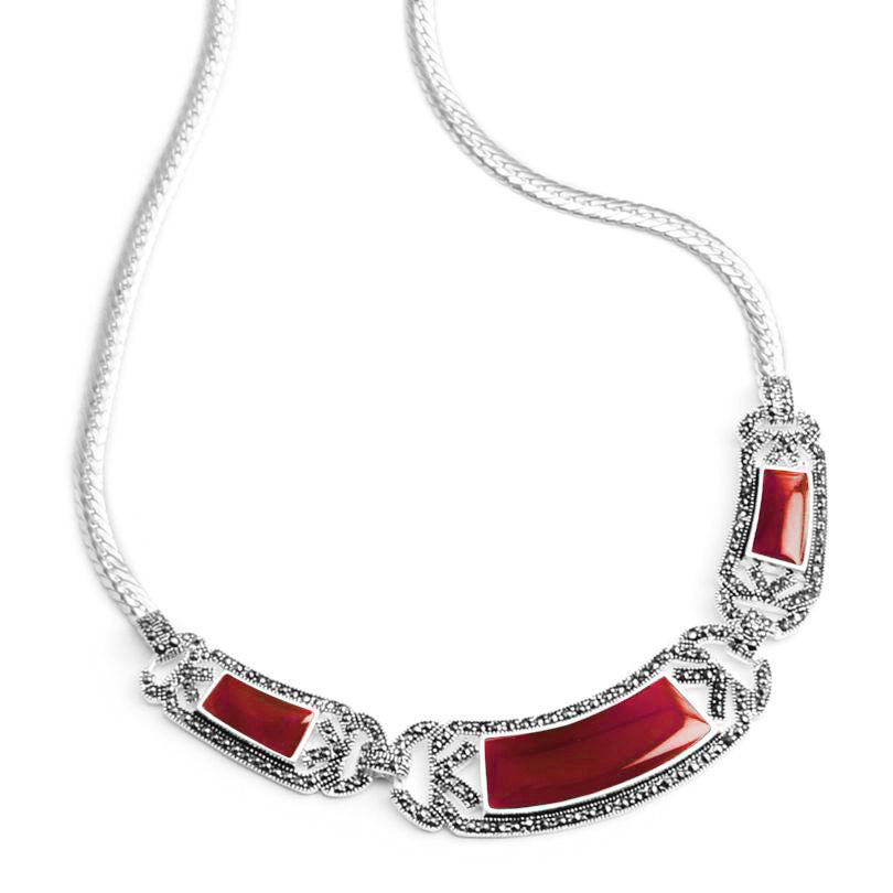 Petite La Reina Carnelian and Marcasite Sterling Silver Necklace
