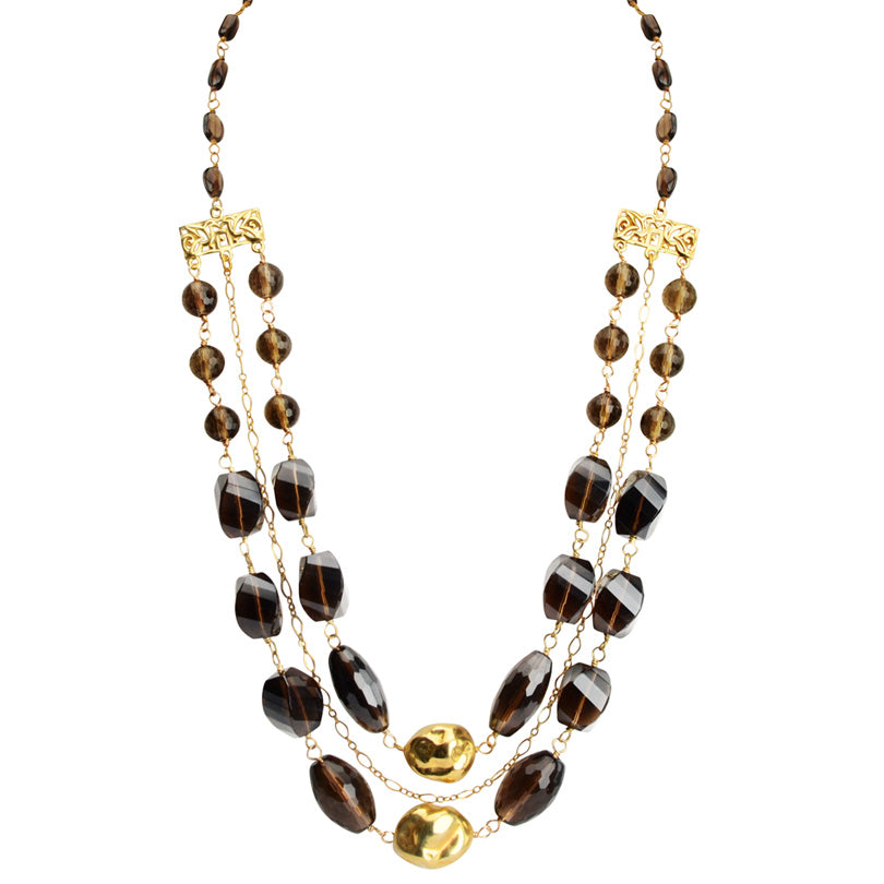 Stunning Smoky Quartz with Bright Gold Vermeil Accent Nuggets & Chain Necklace
