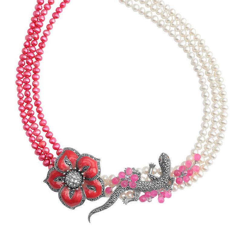 Gorgeous Rose Pink Pearl and Marcasite Sterling Silver Flower Necklace