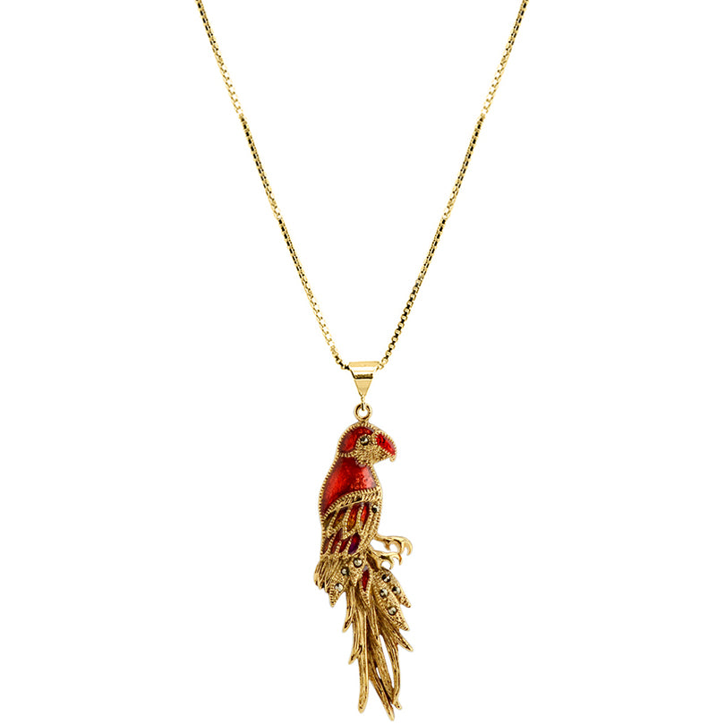 Adorable Golden Red Parrot Marcasite Gold Plated Necklace
