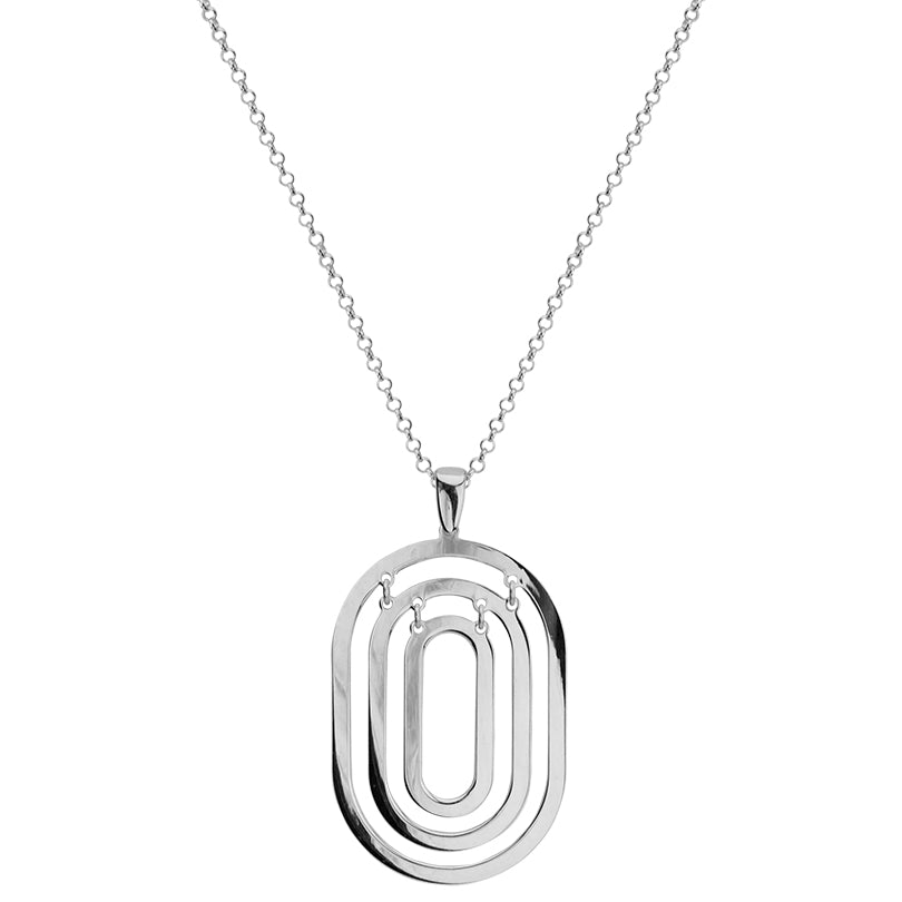 Classic Geometric Italian Rhodium Plated Sterling Silver Necklace 30""
