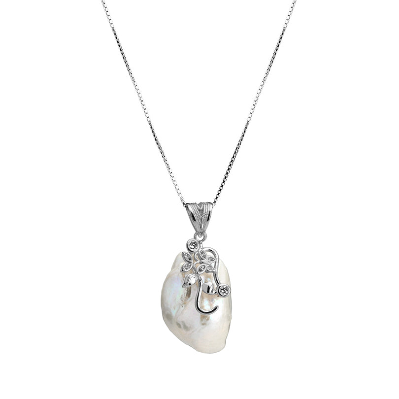 Beautiful Baroque Pearl With Crystal Accents Smaller Version Sterling Silver Necklace