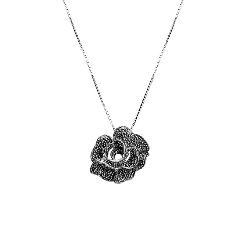 Pretty as a Rose on Italian Rhodium Plated Sterling Silver Necklace