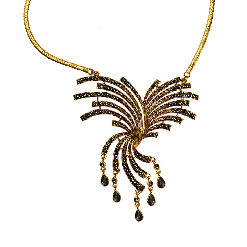 Gorgeous Fanfare Marcasite Gold Plated Necklace