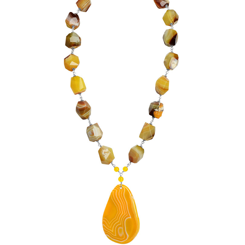 "Vibrant Sunshine Agate Sterling Silver Statement Necklace 21""--23"""