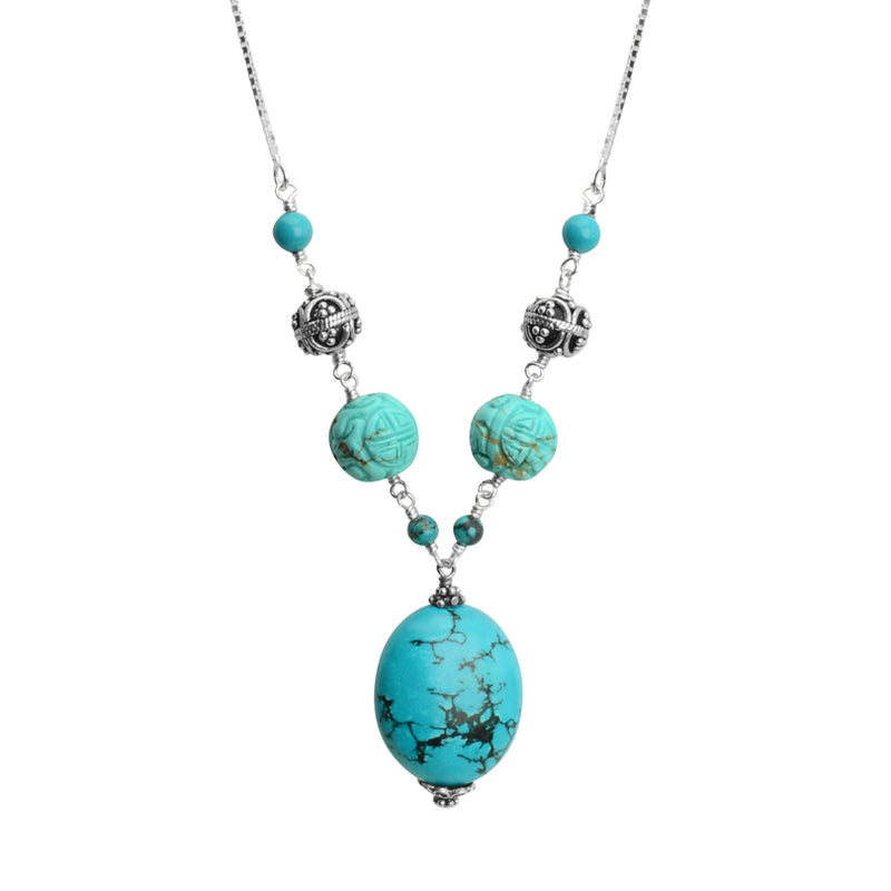 Lovely Carved Chalk Turquoise with Balinese Sterling Silver Accents Necklace