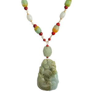 Natural Carved Burmese Jade Fish with Red Coral Statement Necklace