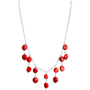 "Delicate Drops of Coral Sterling Silver Necklace 16"" - 19"""