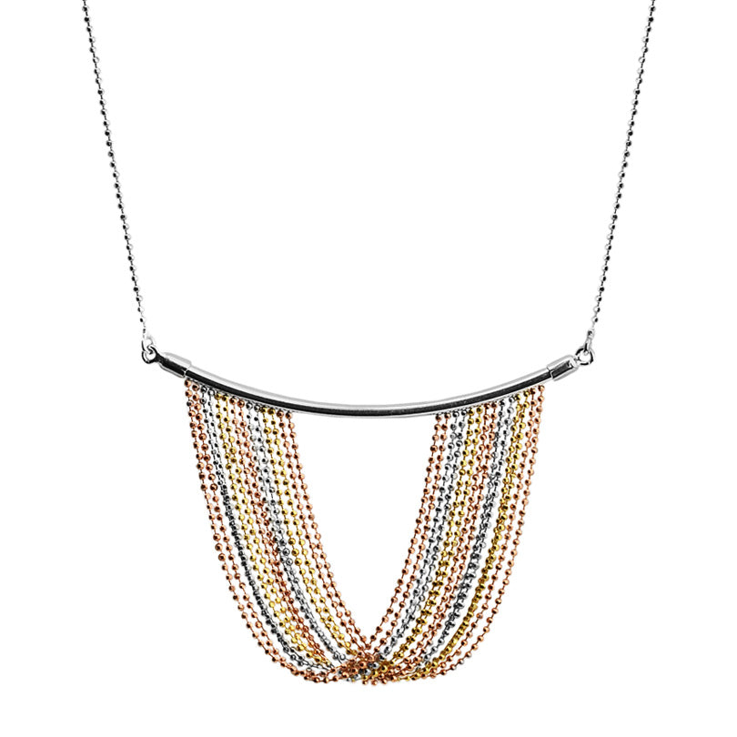 18kt Tri-Color Gold Draped Waterfall Sterling Silver Italian Statement Necklace