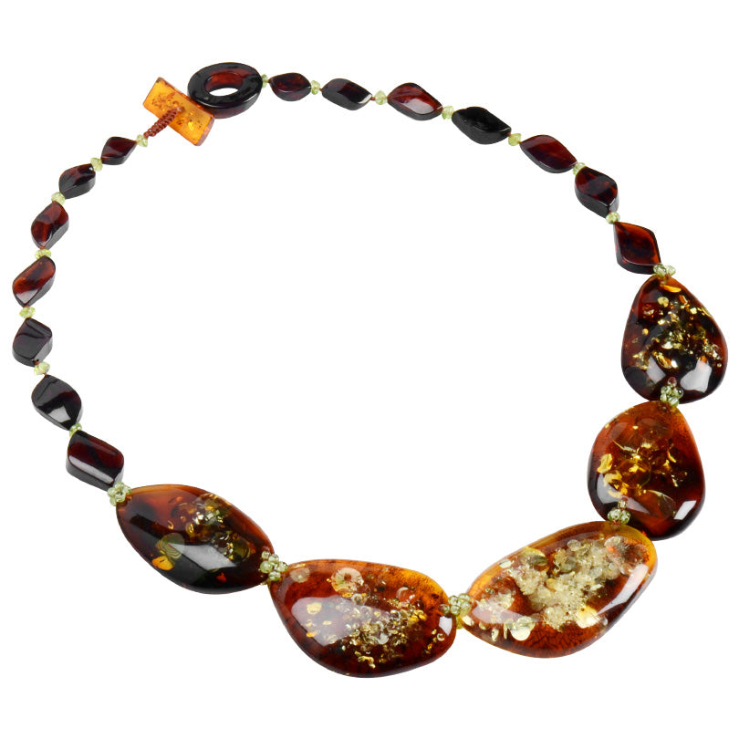 "Gorgeous Dark "" Fire"" Cognac Polish Statement Necklace"