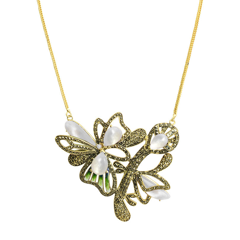 Floral Art Deco Design Gold Plated Marcasite Flower Necklace