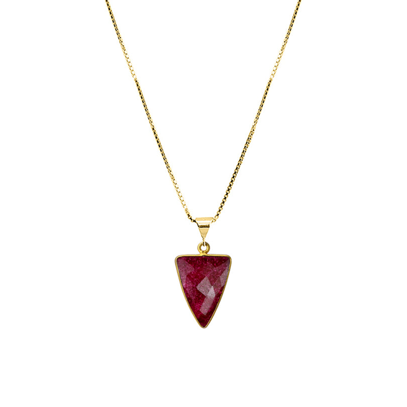 "Dramatic Red Corundum Gold Plated Necklace 16"" - 18"""
