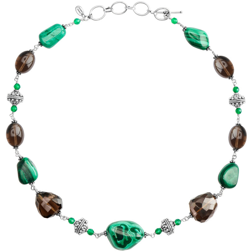 Gorgeous Malachite and Smoky Quartz Sterling Silver Necklace
