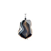 Luxurious, Natural Black Banded Agate With Black Onyx Accent Sterling Silver Pendant