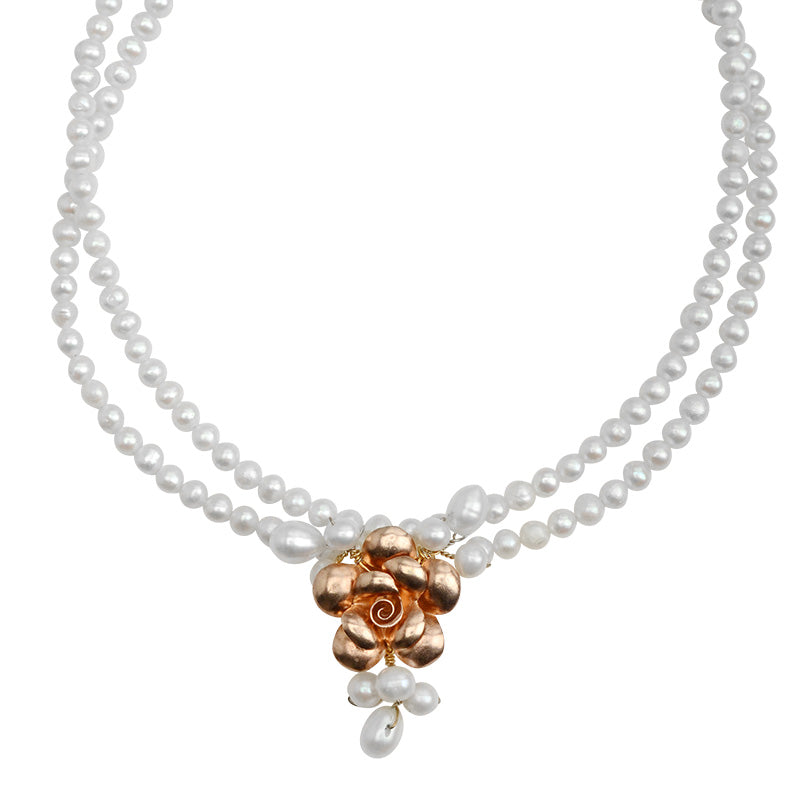 "French Style Fresh Water Pearl With Rose Gold Vermeil Flower Necklace 16"" - 18"""