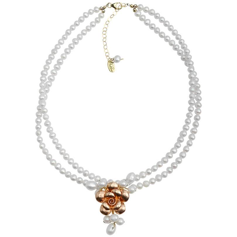"French Style ""Dusty Rose"" Fresh Water Pearl with Rose Gold Plated Silver Flower Necklace"