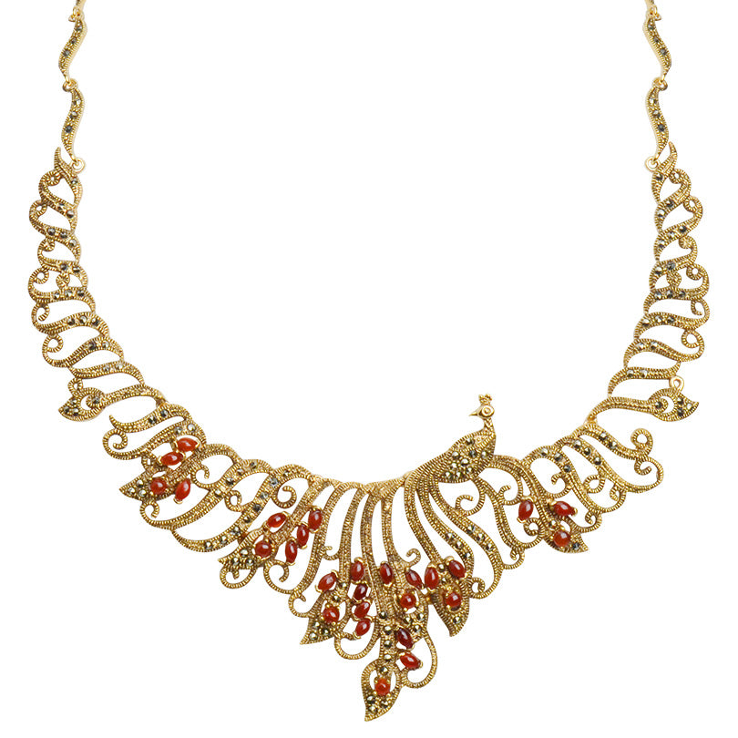 Graceful Peacock Lace with Carnelian Stones 14kt Gold Plated Marcasite Necklace
