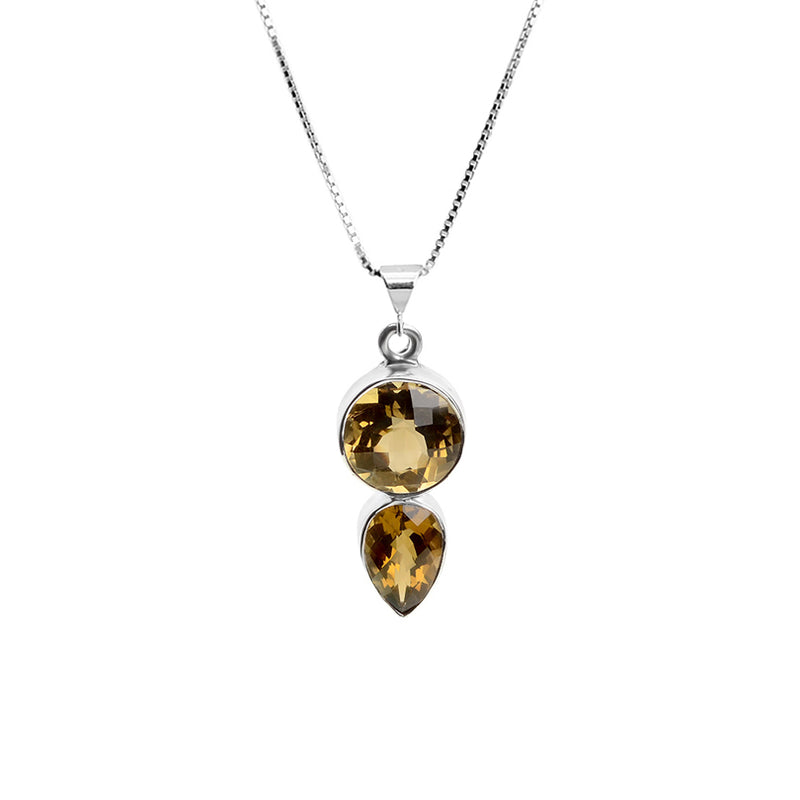 Golden Smoky Quartz Sterling Silver Necklace