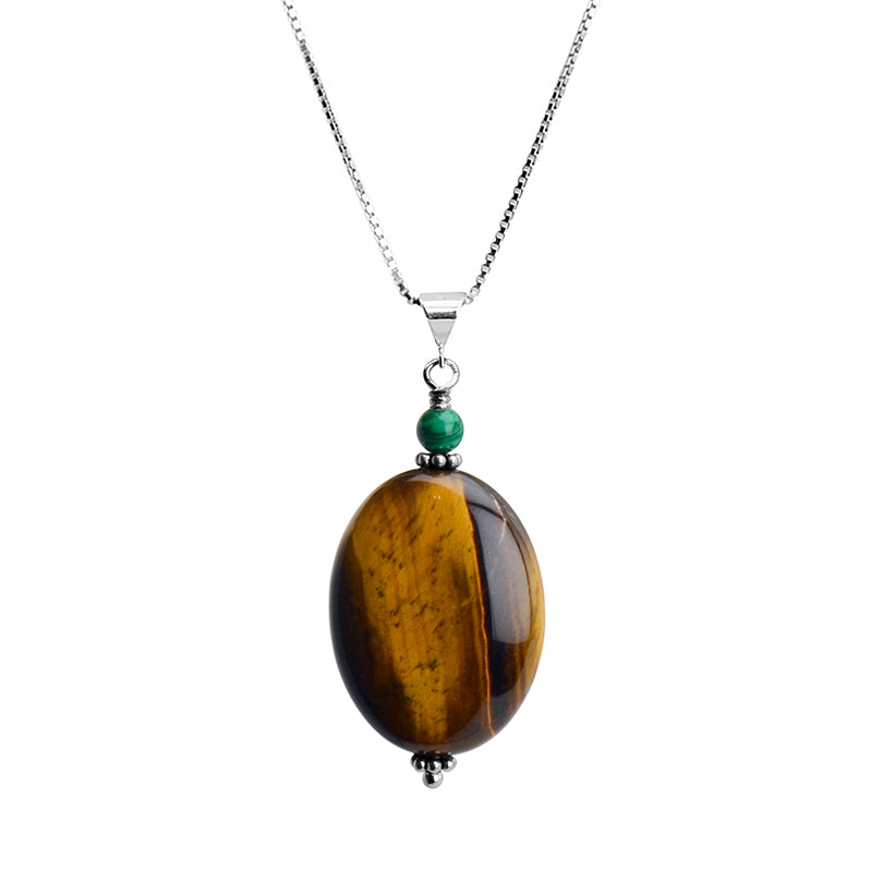 Beautiful Large Tiger's Eye Stone and Green Malachite on Rhodium Plated Sterling Silver Italian Necklace