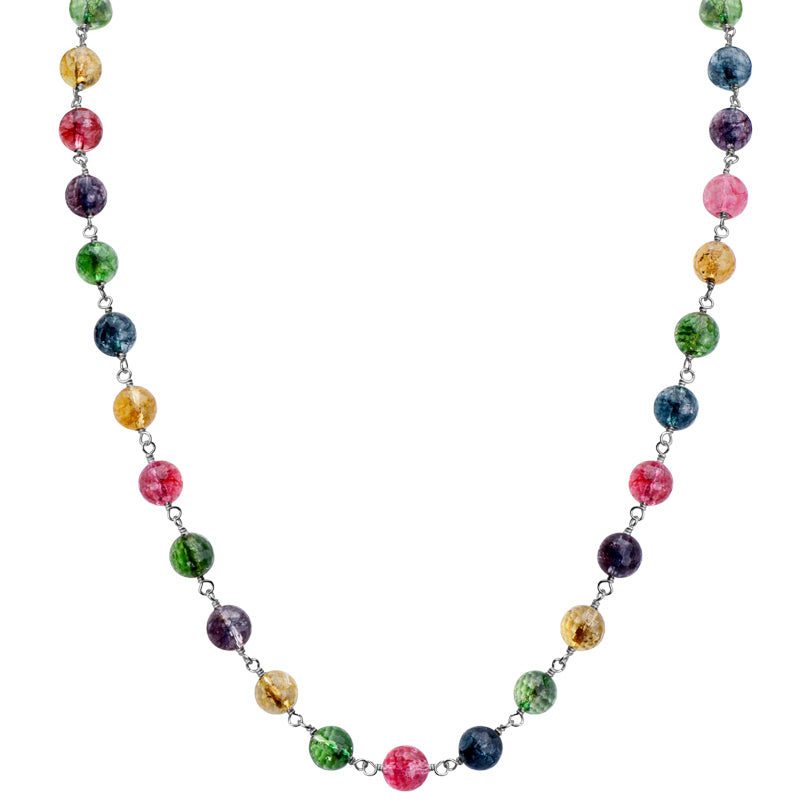 "Beautiful Faceted Tourmaline Colored Glass Sterling Silver Necklace 18"" - 20"""
