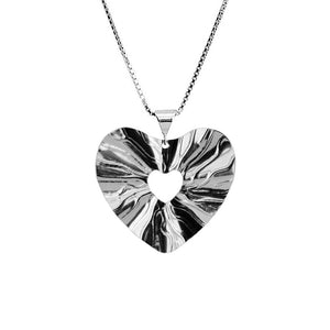 Dazzling Italian Heart Rhodium Plated Sterling Silver Necklace