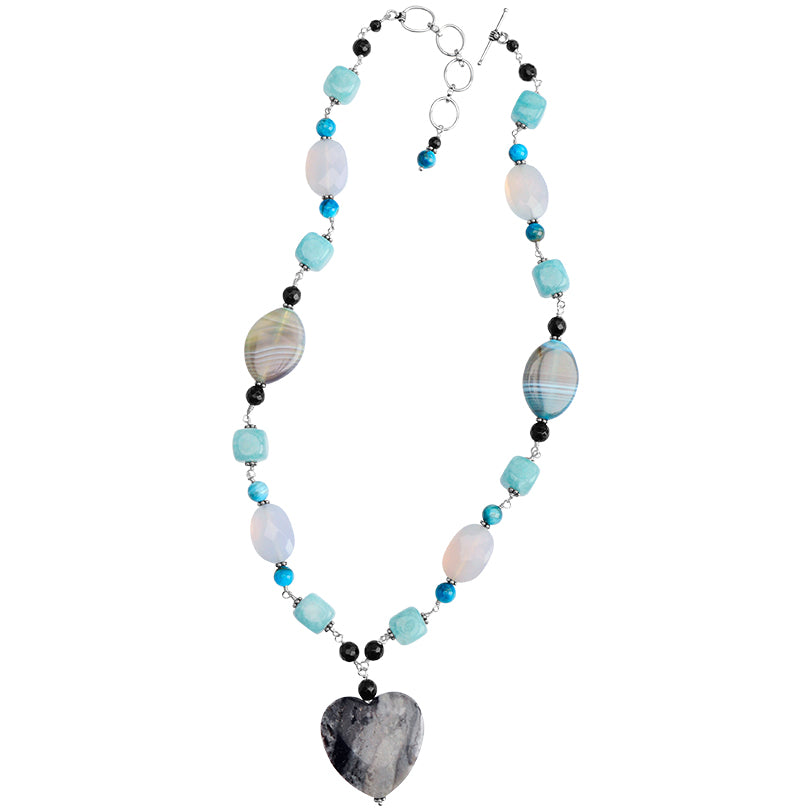 "Peruvian Opal Heart, Aquamarine, Natural Agate and Chalcedony Sterling Silver Necklace 18"" - 20"""