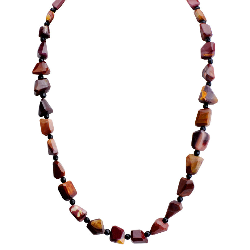 "Wine Colors of Moukaite and Black Onyx Sterling Silver Necklace 18"" - 20"""
